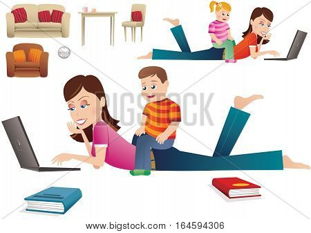 An image of a young mother computing at home while laying on the floor. Her young son / daughter is sitting on her back while looking on.