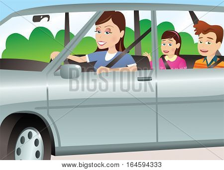 A young mother driving her children in an automobile.