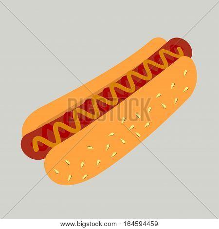 Hot Dog Cartoon Illustration. Vector hotdog with mustard. Hot dog icon. Classic american fast food