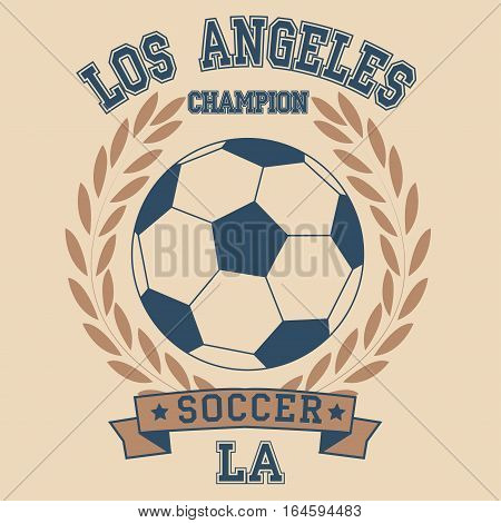 Los angeles sport typography t-shirt. Los angeles College fashion design print for t-shirt. Los angeles soccer Graphicsl. Soccer badge los angeles champion t-shirt - vector