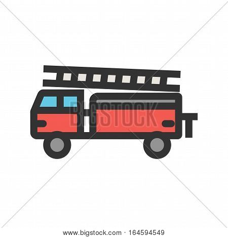 Firebrigade, truck, emergency icon vector image. Can also be used for vehicles. Suitable for use on web apps, mobile apps and print media.