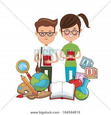 nerd students glasses book college tools vector illustration eps 10