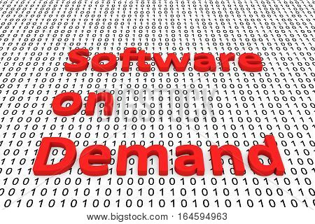 software on demand in the form of binary code, 3D illustration