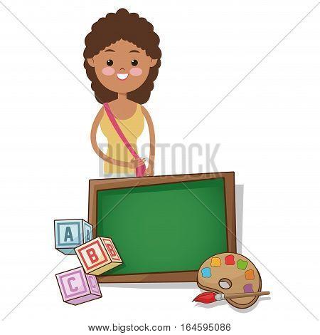 girl student school board palette alphabet cube vecto rillustration eps 10