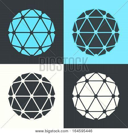 Vector Polyhedron Flat Design Retro Colour Set Illustration
