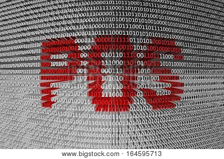 POS in the form of binary code, 3D illustration
