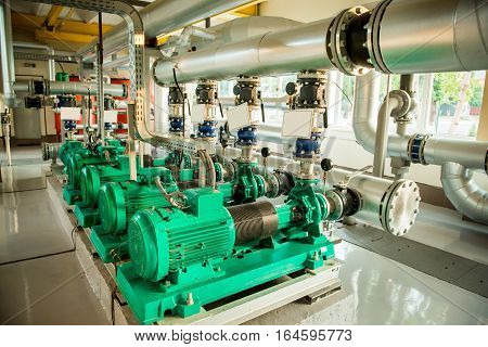 Modern boiler room equipment- high power boiler burner