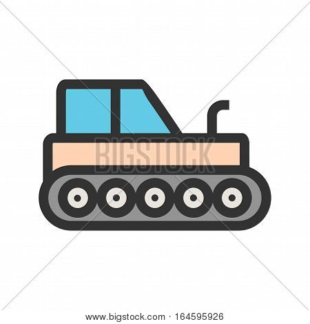 Industrial, tractor, heavy icon vector image. Can also be used for vehicles. Suitable for mobile apps, web apps and print media.