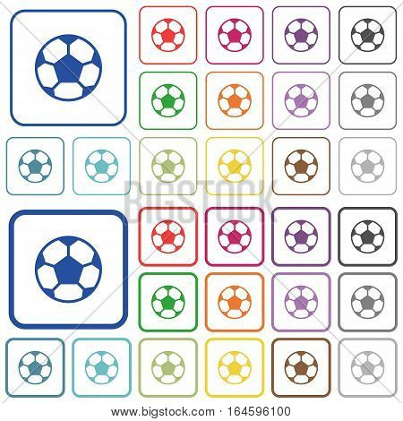 Soccer ball color flat icons in rounded square frames. Thin and thick versions included.