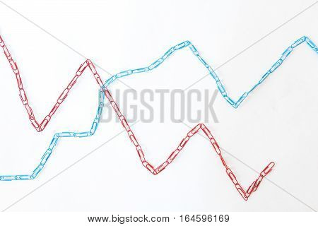 Economic Graph Diagram Made Of Paper Clips