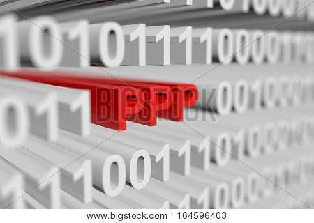PPP in the form of a binary code with blurred background 3D illustration