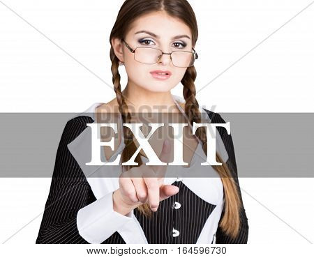 exit written on virtual screen. sexy secretary in a business suit with glasses, presses button on virtual screens. technology, internet and networking concept