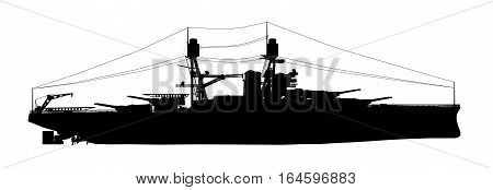 Computer generated 2D illustration with the silhouette of an American battleship of World War II