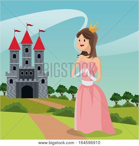 princess path castle landscape vector illustration eps 10