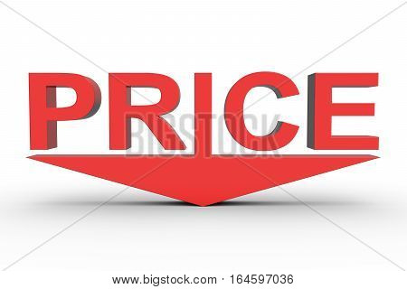 price reduction in the form of arrows above the text 3D illustration