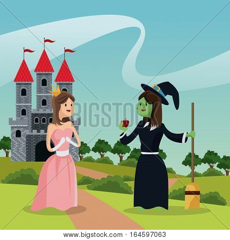 princess with ugly witch giving apple castle and landscape vector illustration eps 10