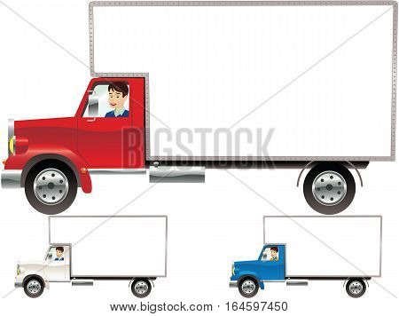 Three different images of a modern haulage truck - red, white and blue versions.