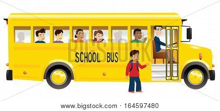 An image of a yellow school bus with schoolchildren.