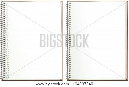 An illustration of two blank paged spiral bound notebooks, one notebook with torn out top sheet.