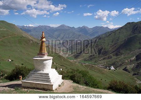 View from the Buddhist monastery Druk Yerpa into valley.