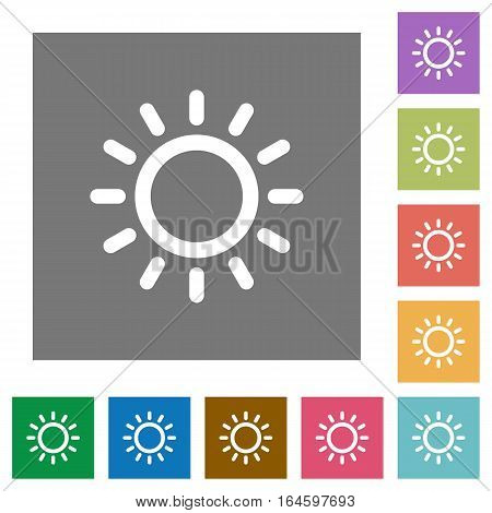 Brightness control flat icons on simple color square backgrounds