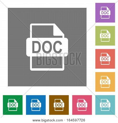 DOC file format flat icons on simple color square backgrounds