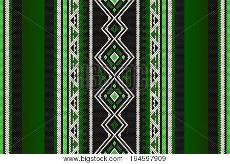 Detailed Green Traditional Folk Sadu Arabian Hand Weaving Pattern
