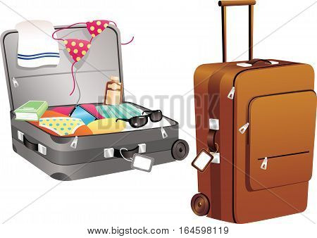 Two illustrations of some modern luggage - one packed and closed, one open and full.