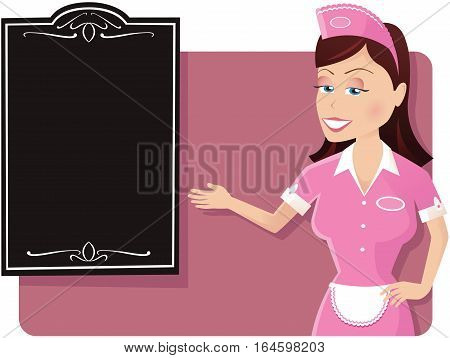 An illustration of a waitress gesturing to a menu board. Menu is blank for your own message,