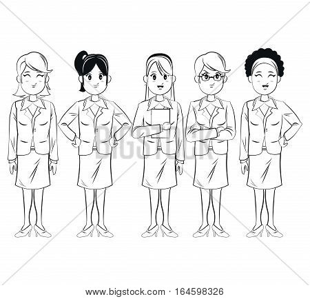 group women employee team work business vector illsutration eps 10