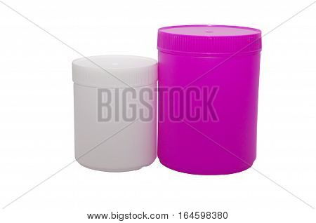 two plastic capacities of white and pink color the different size stand nearby on a white background