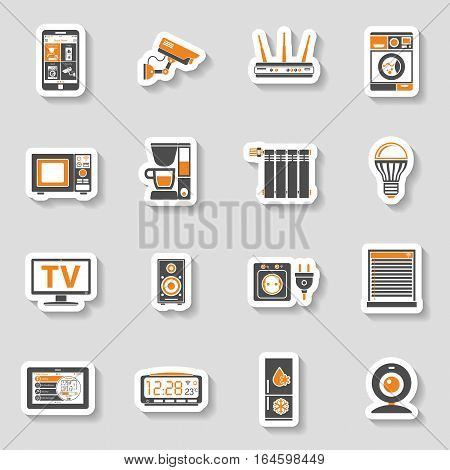 Smart House and internet of things two color sticker Icons Set with smartphone, tablet, security camera, router light bulb and smart tv. vector illustration