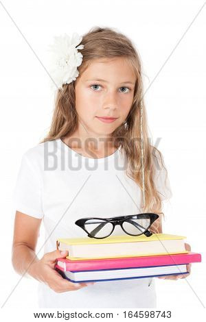 lovely girl holding colorful book - student
