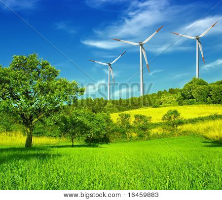 Wind turbines farm on hill in summer