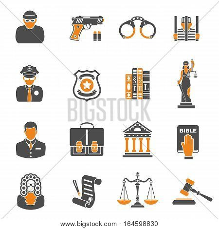Set Crime and Punishment two color Icons like Thief, Policeman, Lawyer and Judge. isolated vector illustration