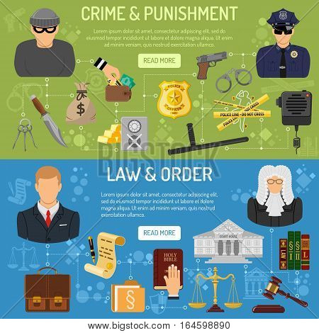 Law and order horizontal banners with flat icons Policeman, thief, lawyer and judge. vector illustration