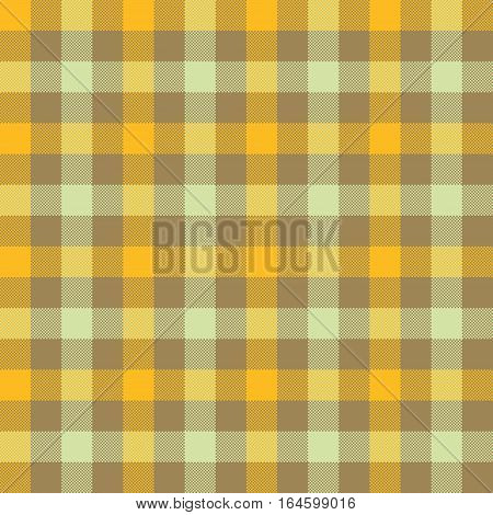 Yellow beige check tablecloth seamless pattern. Vector illustration. EPS 10.