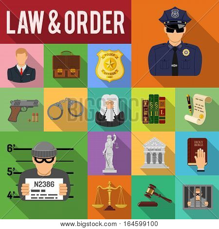 Crime and Punishment concept with Flat Icons set Long Shadows like criminal, Policeman, Lawyer, Judge, Themis and Court House. vector illustration poster