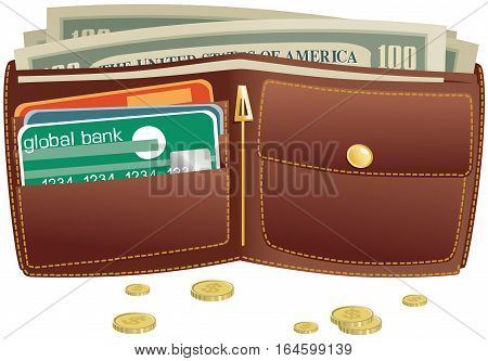 An illustration of an open brown leather wallet and coins.