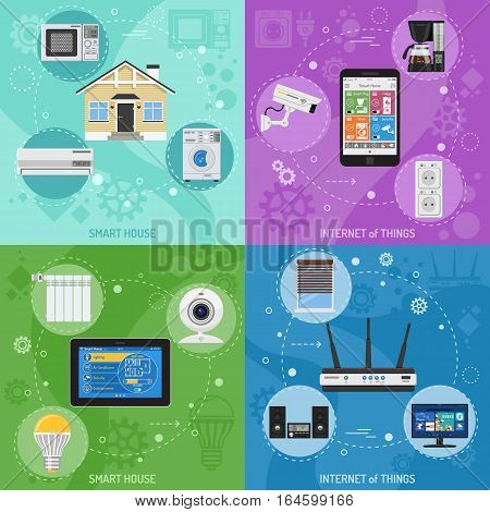 Smart House and internet of things square banners. smartphone and tablet controls smart plug, fridge coffee maker router microwave and tv flat icons. vector illustration