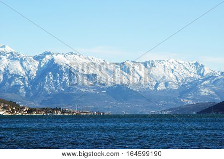 Winter at the seaside. The Bay of Kotor, Montenegro