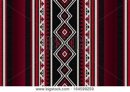 Detailed Red Traditional Folk Sadu Arabian Hand Weaving Pattern