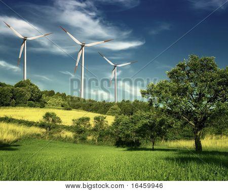 Wind turbines farm on hill