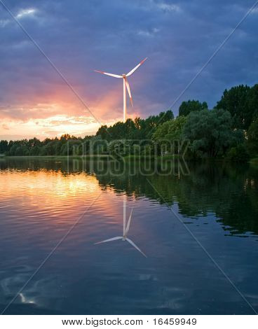 Reflection of a Wind Turbine