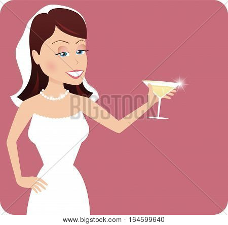 An illustration of a young bride raising her glass to toast the party.