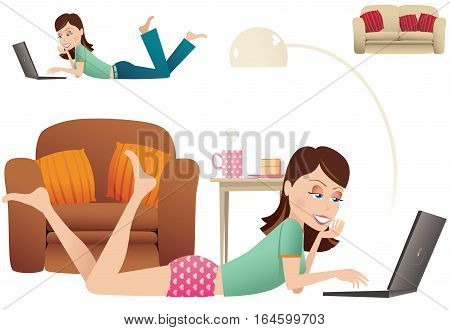 An image of a young woman using her laptop while laying on the floor at home.