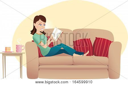 A woman relaxing on her sofa reading a book.