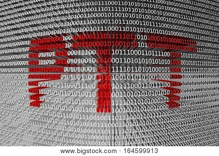PTT in the form of binary code, 3D illustration