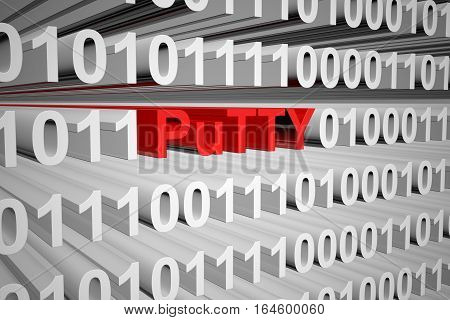 PuTTY in the form of binary code, 3D illustration