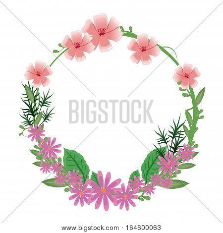 flower round frame wreath nature delicate vector illustration eps 10